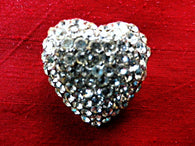 Crystal pave vintage heart brooch or small lapel pin, gift box - Taingtiques - 1