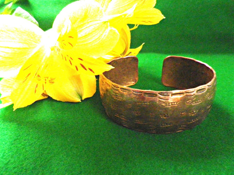Large vintage copper bangle or cuff bracelet, engraved design