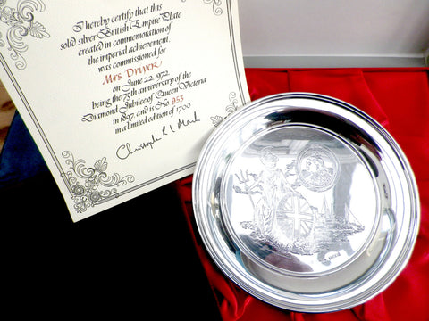 British Empire sterling silver collectable plate, diamond jubilee - Taingtiques - 1