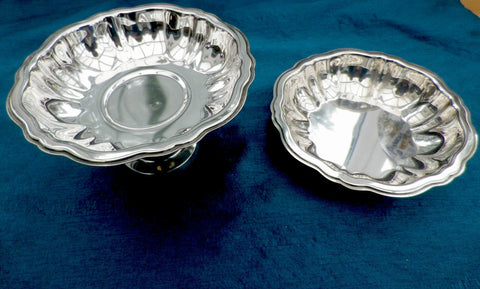 Silver plated pedestal dish & sweet bowl, Oneida USA, fluted design, matching pair - Taingtiques - 1