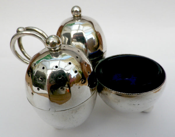 Silver plated condiment set - one piece salt, pepper and mustard pots - Taingtiques - 1