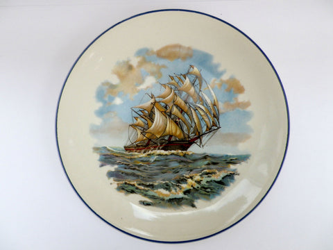 Galleon ship plate, hand painted, collectable small plate by Empire - Taingtiques - 1