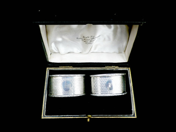 2 cased silver napkin rings, Art Deco, Dublin and Birmingham hallmarks - Taingtiques - 1