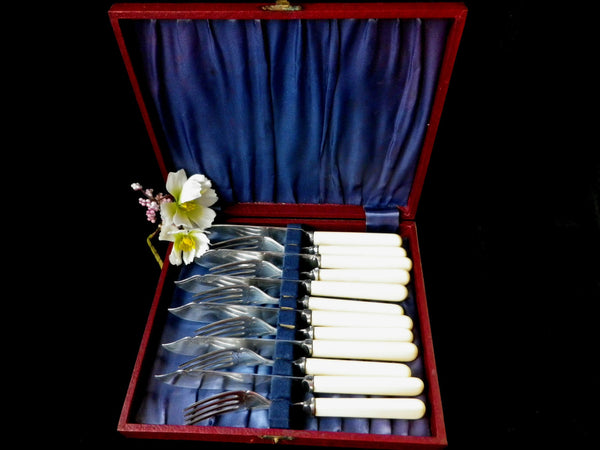Silver plated fish cutlery, cream handles, red hinged box, 12  pieces, Art Deco, Sheffield cutlery, 1930s,  EPNS A,  T E Osborne - Taingtiques - 1