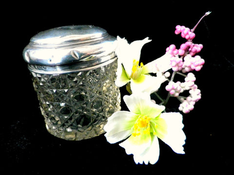 Glass vanity jar, hallmarked silver top, hobnail cut glass - Taingtiques - 1