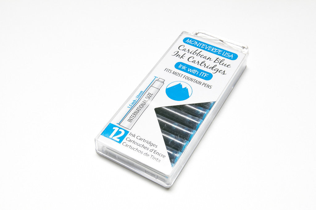 Monteverde, Caribbean Blue, Twelve Ink Cartridges
