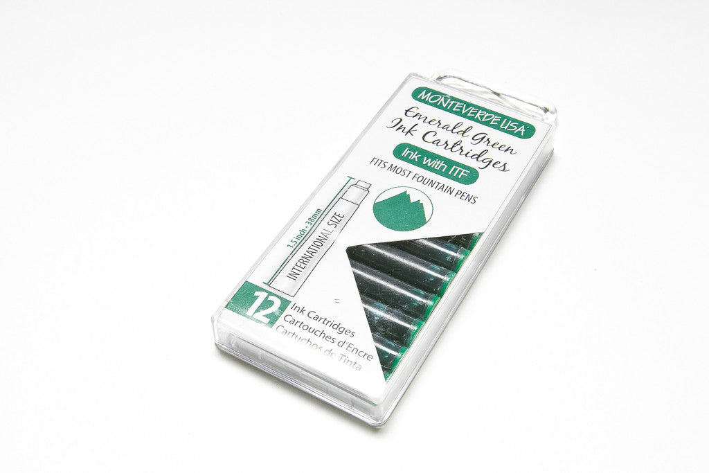 Monteverde, Emerald Green, Twelve Ink Cartridges