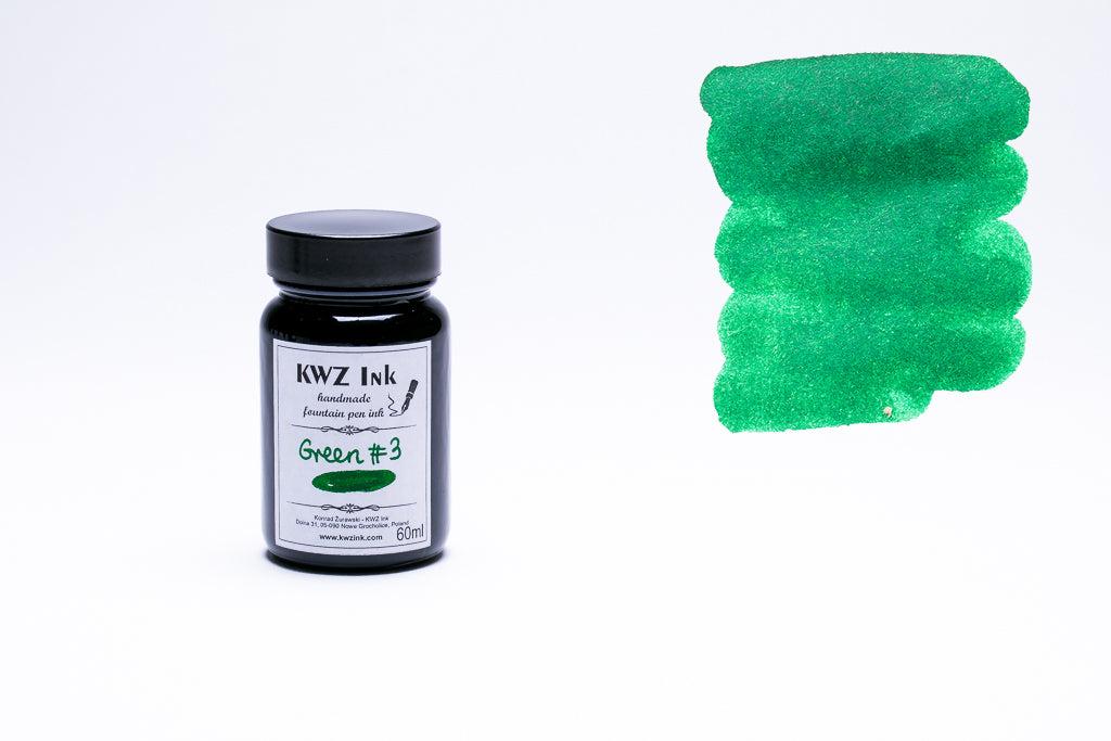 KWZ Ink, Green #3 Fountain Pen Ink, 60ml