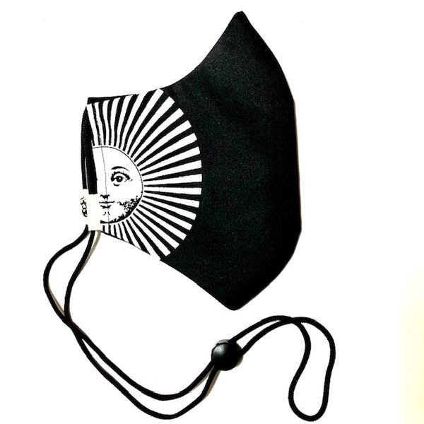 Black & White Sun Face Mask w/Filter Pocket