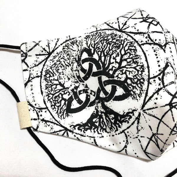 White & Black Tree of Life Face Mask w/Filter Pocket