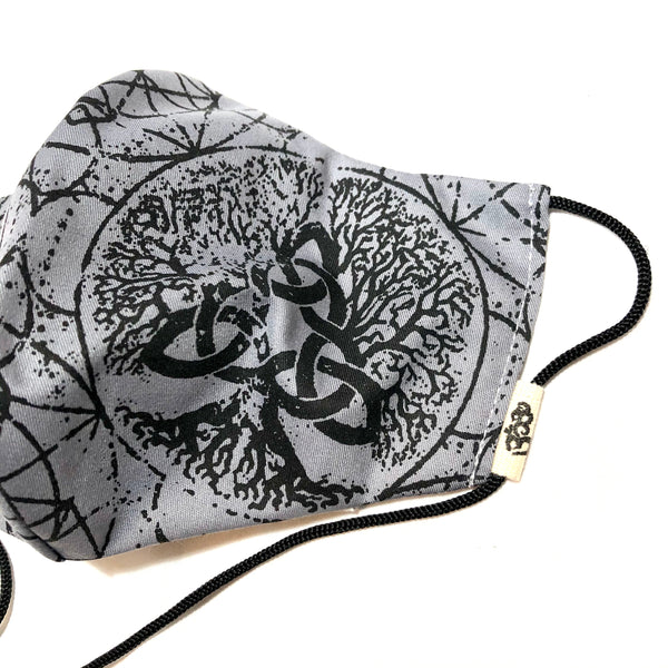 Gray & Black Tree of Life Face Mask w/Filter Pocket