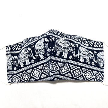 Navy & White Elephant Print Cotton Face Mask