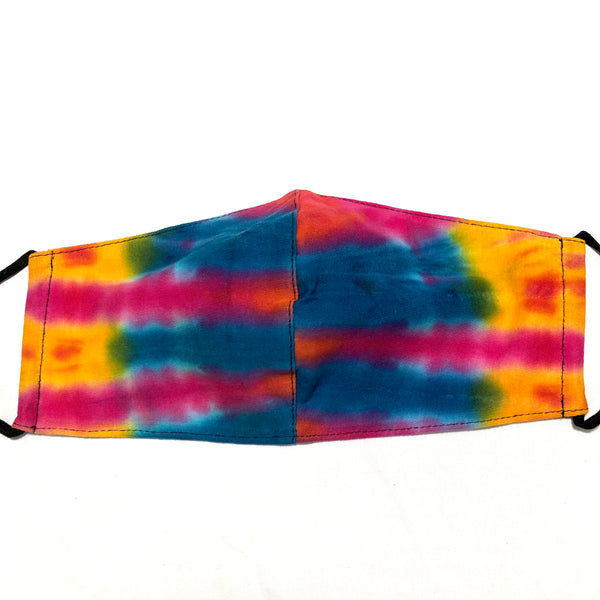 Bright Yellow Multicolor Tie Dye Face Mask with Filter Pocket