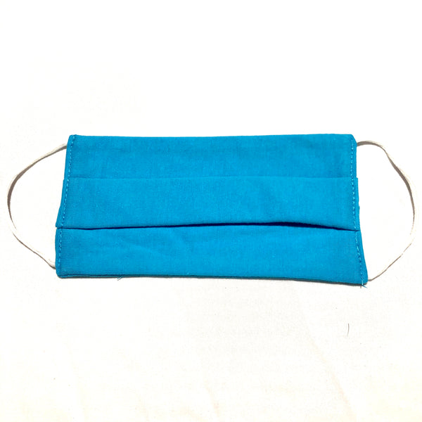 Cotton Face Mask Two Layer Turquoise Blue