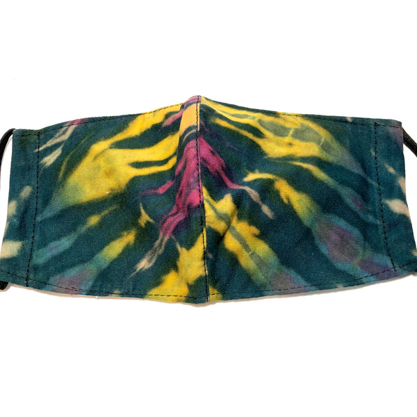 Dark Teal Multicolor Tie Dye Face Mask with Filter Pocket