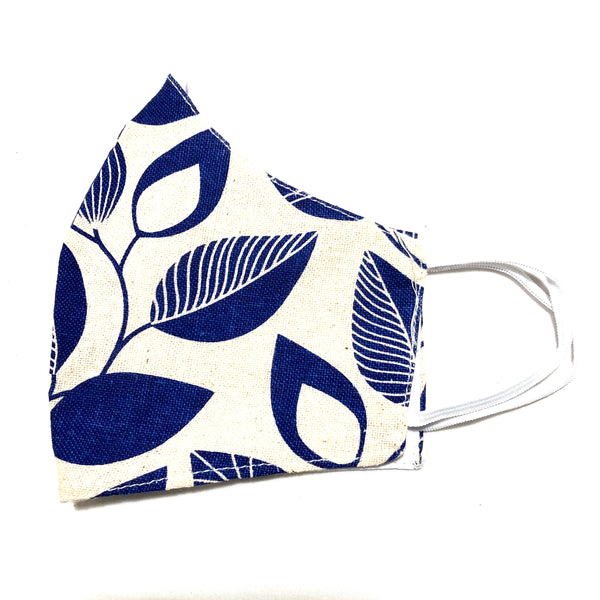 Ivory & Blue Leaves Cotton Face Mask