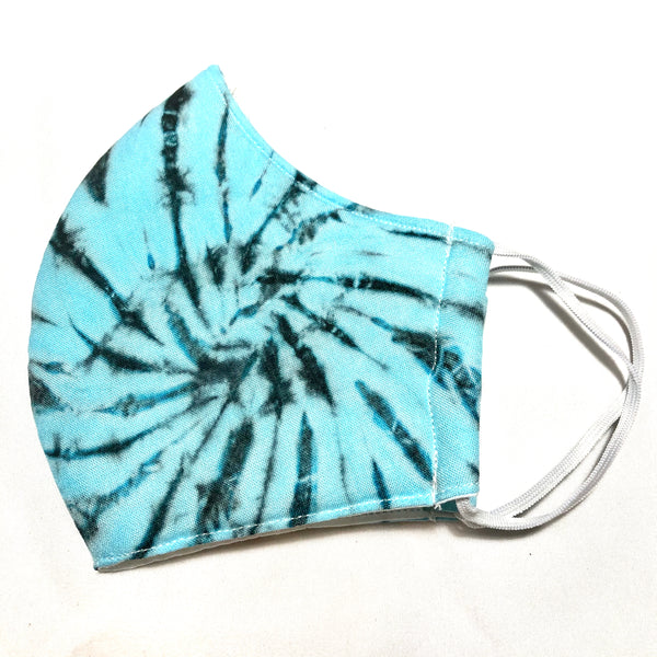 Aqua Tie Dye Face Mask w/Filter Pocket