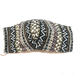 Black Multi Aztec Print Face Mask with Filter Pocket