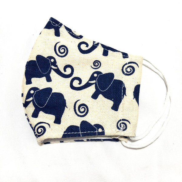 Ivory & Navy Elephant Cotton Face Mask for Kids