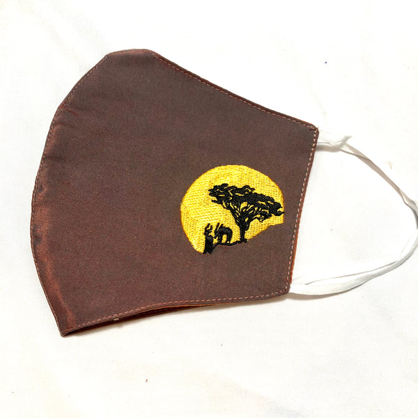 Brown Silk Bodhi Tree Yellow Embroidered Face Mask