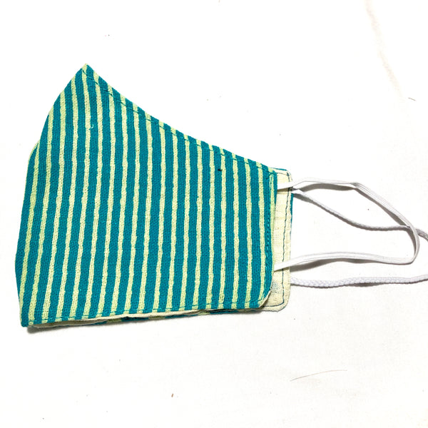 Turquoise & Yellow Stripe Print Cotton Face Mask