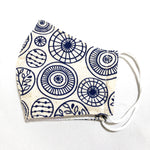 Ivory & Blue Circle Print Cotton Face Mask for Kids