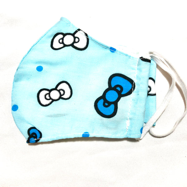 Blue Bows Print Cotton Face Mask for Kids