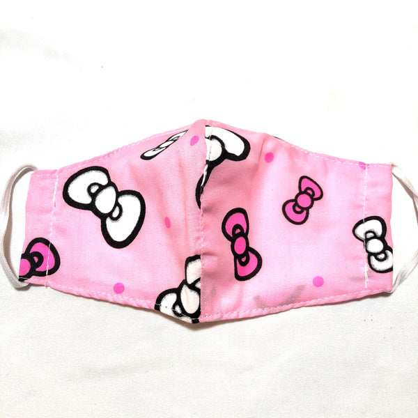 Pink Bows Print Cotton Face Mask for Kids SALE