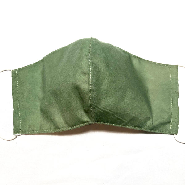 Khaki Green Cotton Face Mask with Filter Pocket