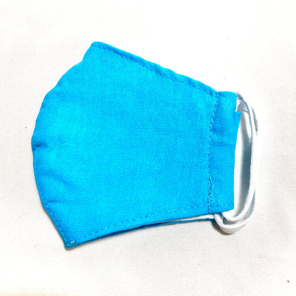 Kids Solid Turquoise Cotton Face Mask w/Filter Pocket