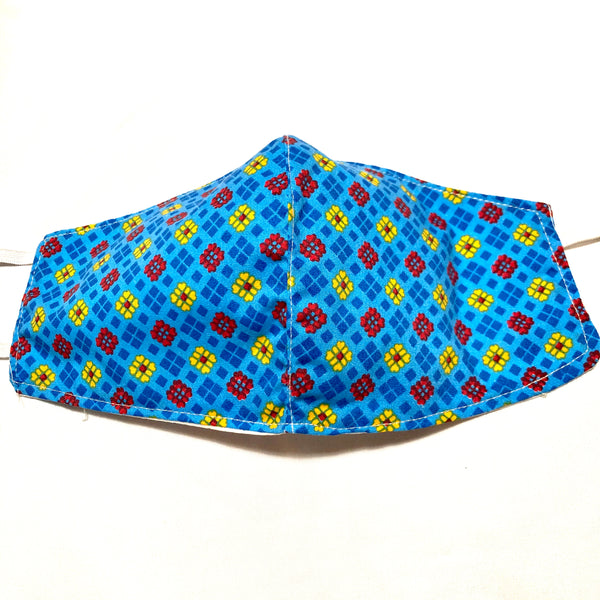 Blue Multicolor Print Cotton Face Mask
