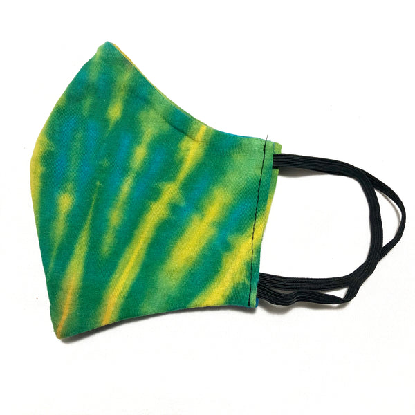 Green Multicolor Tie Dye Cotton Face Mask