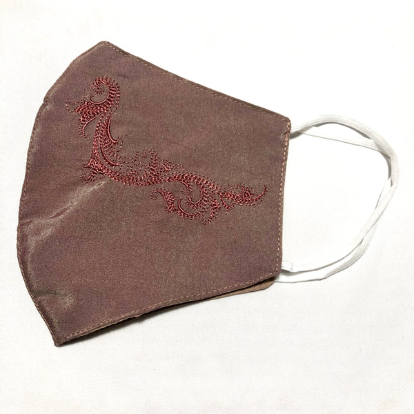 Brown Silk Swirl Embroidered Face Mask