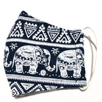 Kids Navy & White Elephant Print Cotton Face Mask