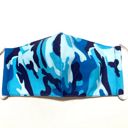 Blue Camo Print Face Mask with Filter Pocket