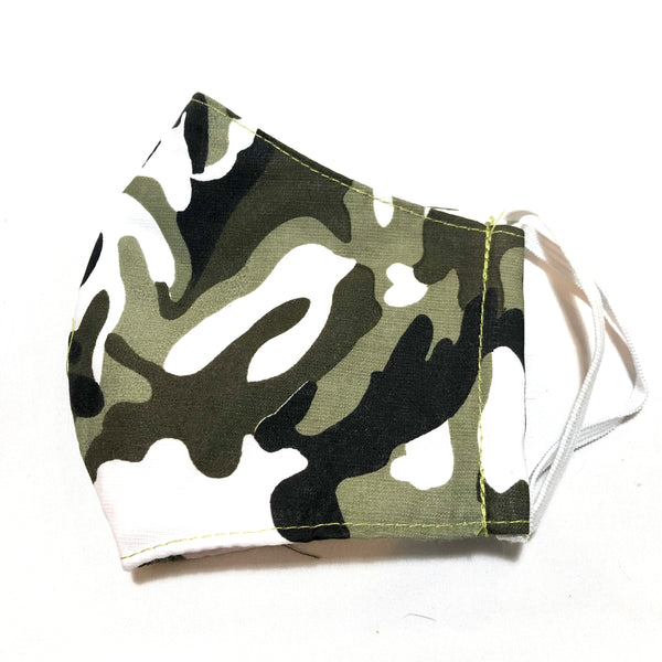 Green Camo Print Face Mask with Filter Pocket