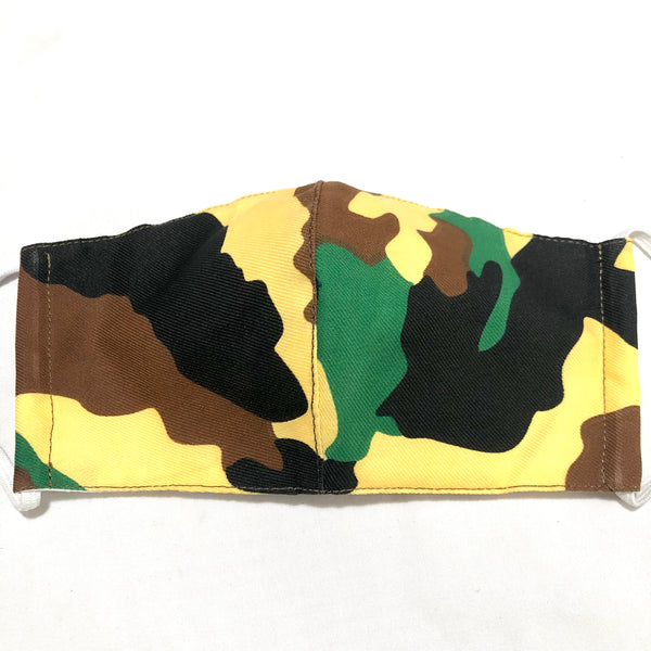 Yellow Camo Print Face Mask with Filter Pocket