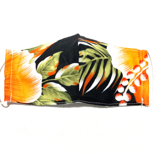 Orange Tropical Floral Print Face Mask with Filter Pocket