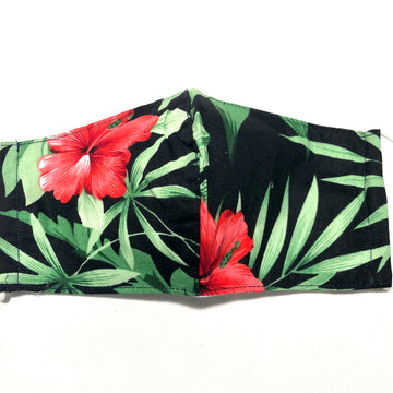 Tropical Hibiscus Print Face Mask with Filter Pocket