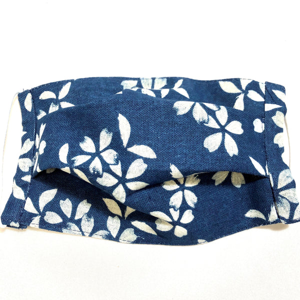 Blue & Ivory Plumeria Floral Print Cotton Face Mask