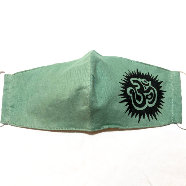 Green Ohm Print Cotton Face Mask