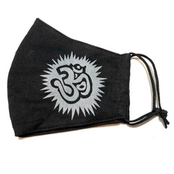 Black Ohm Print Cotton Face Mask