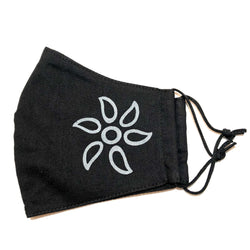 Black Flower Print Cotton Face Mask