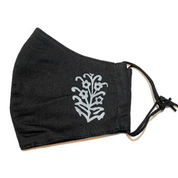 Black Floral Print Cotton Face Mask