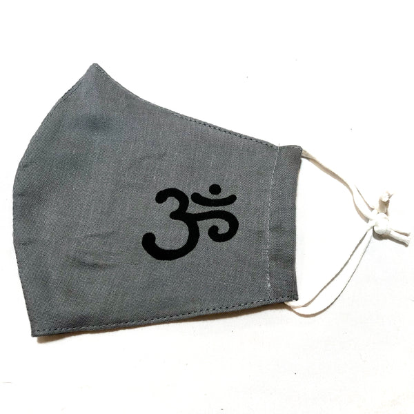 Gray Ohm Print Cotton Face Mask
