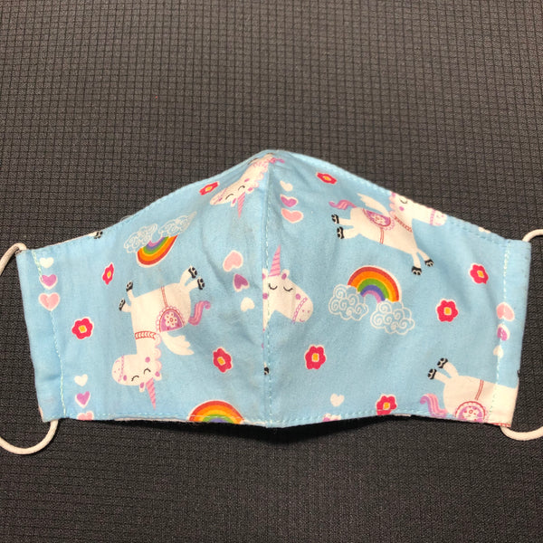 Kid's Unicorn Cotton Face Mask w/Filter Pocket Light Blue