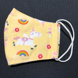 Kid's Unicorn Cotton Face Mask w/Filter Pocket Yellow