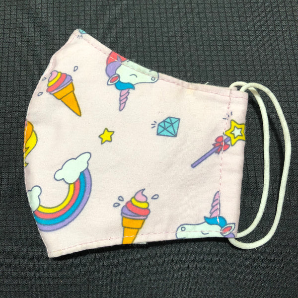 Kid's Unicorn Cotton Face Mask w/Filter Pocket Pink