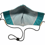 Turquoise & Black Peace Sign Face Mask w/Filter Pocket