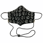 Black & White Peace Sign Face Mask w/Filter Pocket